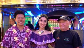 Amanda and member of hula troupe with the blogger