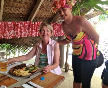 My beautiful wife at her relaxed best being served at Bloody May's in Bora Bora/