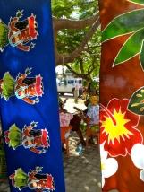 Beautiful sarongs form window to musicians.