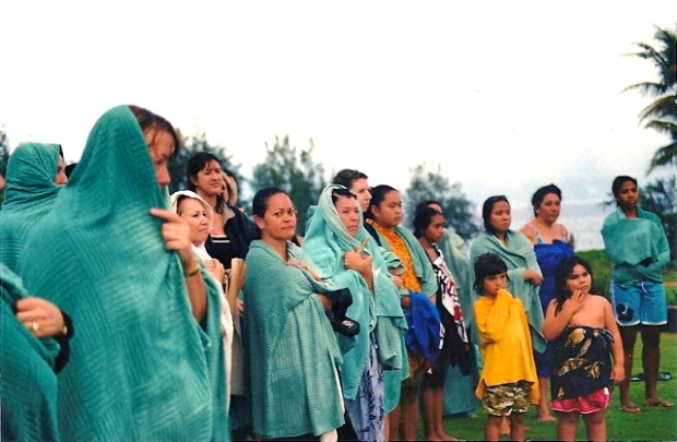 Sunrise cleansing ceremony in 2004 in the rain Voices of Maui Talks Story, LLC photo in 2004 Voices of Maui Talk Story, LLC photo