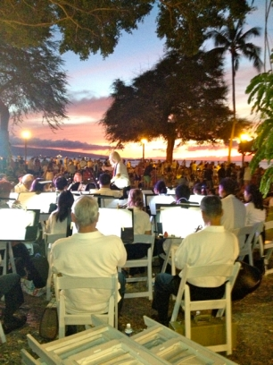 The band performs on the Lahaina Library lawn