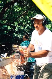 FREDDIE WORKS ON CANOE