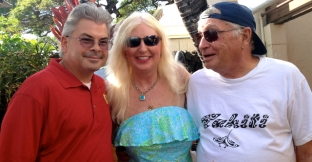With friends Doreen and Damon, featured in my new book, at KIMO'S,