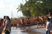 NEW CANOES GO INTO WATER