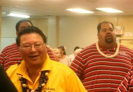 Mayor Arakawa with Zeke Kalua, mayor's assistant