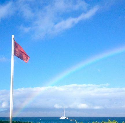 Red flags waving and raindbow