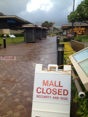 Whalers Village Shopping Center at Ka'anapali closed last evening, a rare event.