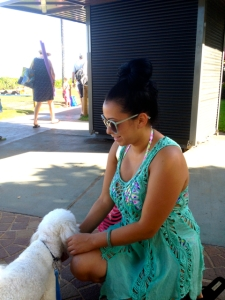 Kea Aloha makes a new friend. He loves women.  Lucky dog.