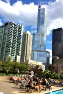 More downtown with sunbathers