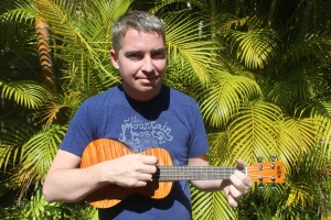 Conor taking ukelele lessons on Maui this summer on the road to recovery