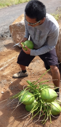 Coconut man pulls up from Hawaii to dispense milk from coconuts to thirsty marchers.