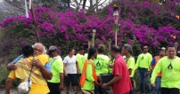 Greeting Hawaiians at entrance of one of 12 mokus (ancient districts)