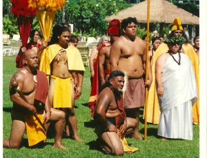 Kapu kneeling at ceremony at Kaanapali Beach Hotel  Norm Bezane photo, circa 2005
