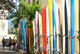 Chained up surfboards