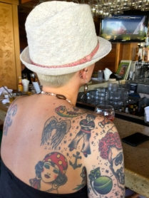 Unknown with hat at Tiki Bar, Kaanapali Beach Hotel