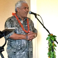 Clifford Naoele greets media and guests at opening reception